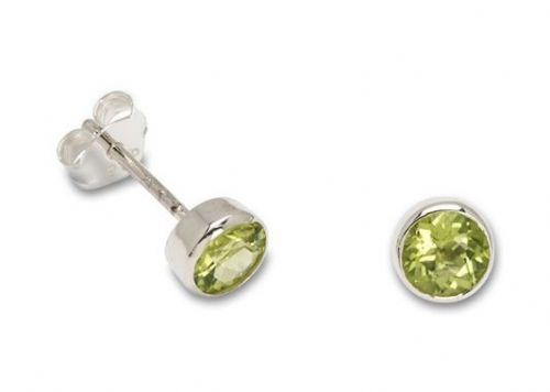 Peridot Silver Round Stud Round Earrings